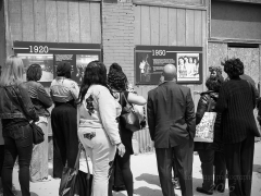 People Listening to The Forum History on 47th Street. Image by Kaye Cooksey
